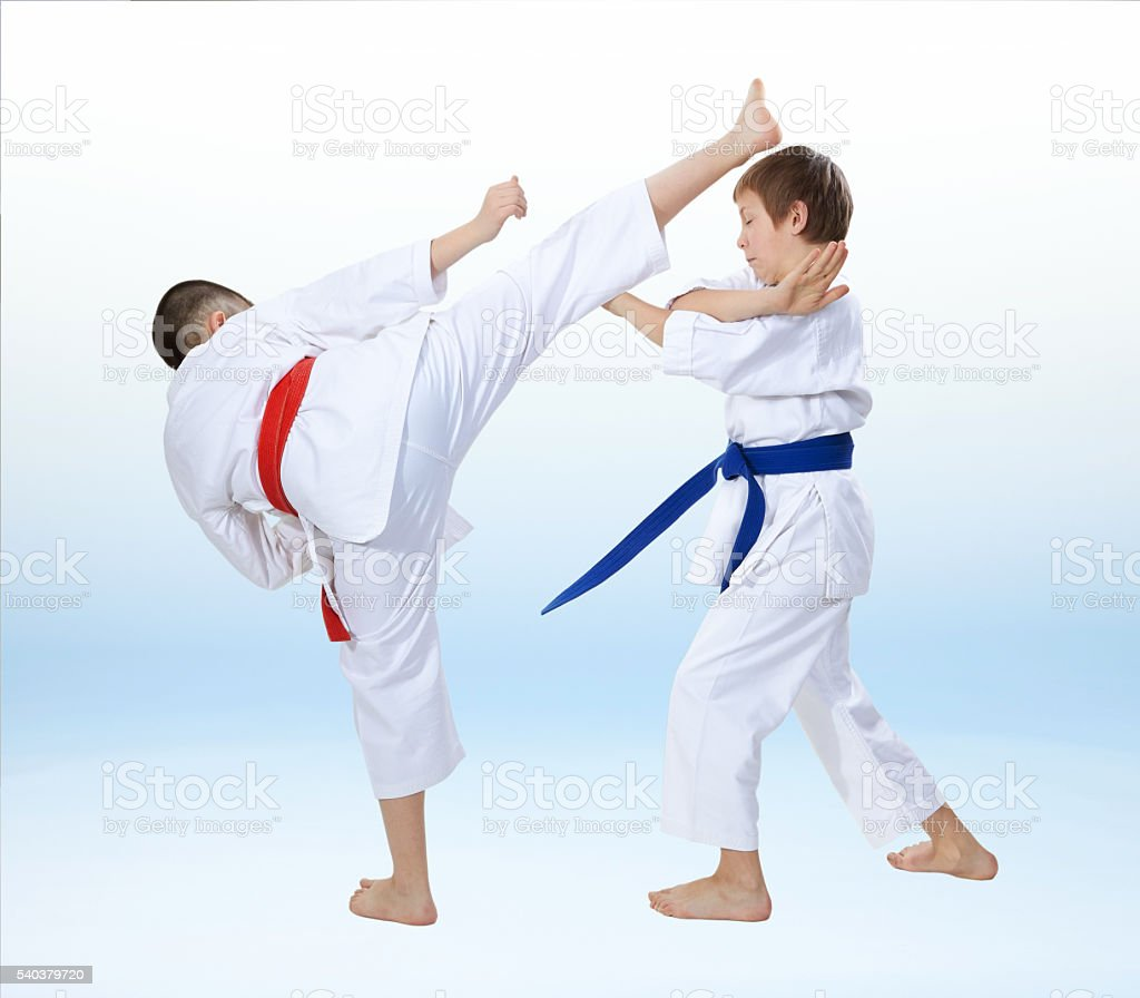 Boys in karategi are training karate punches and blocks stock photo