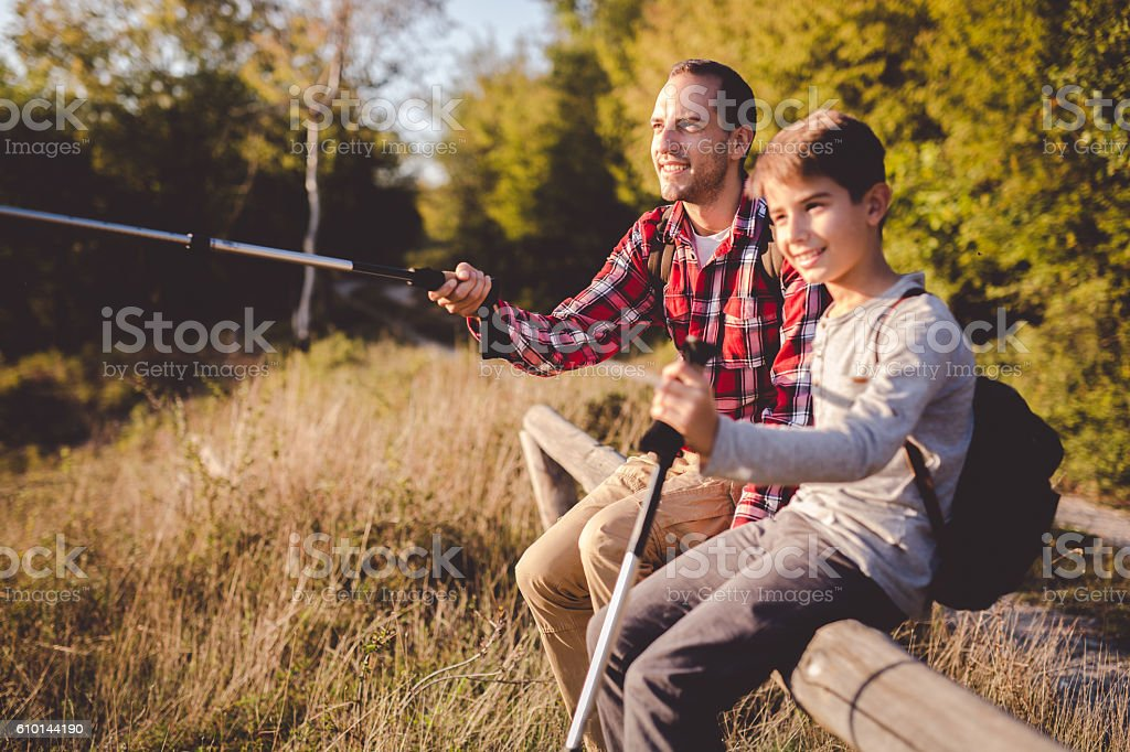 Boys in nature stock photo
