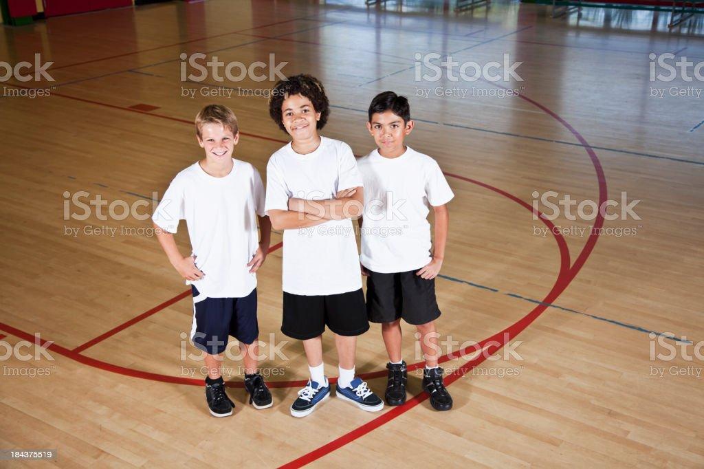 Boys in school gymnasium royalty-free stock photo