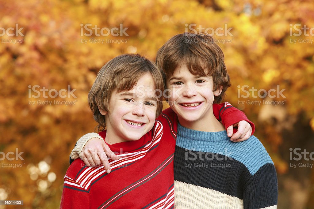 Boys in the Fall stock photo