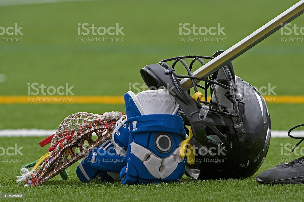 Boys lacrosse gear stock photo