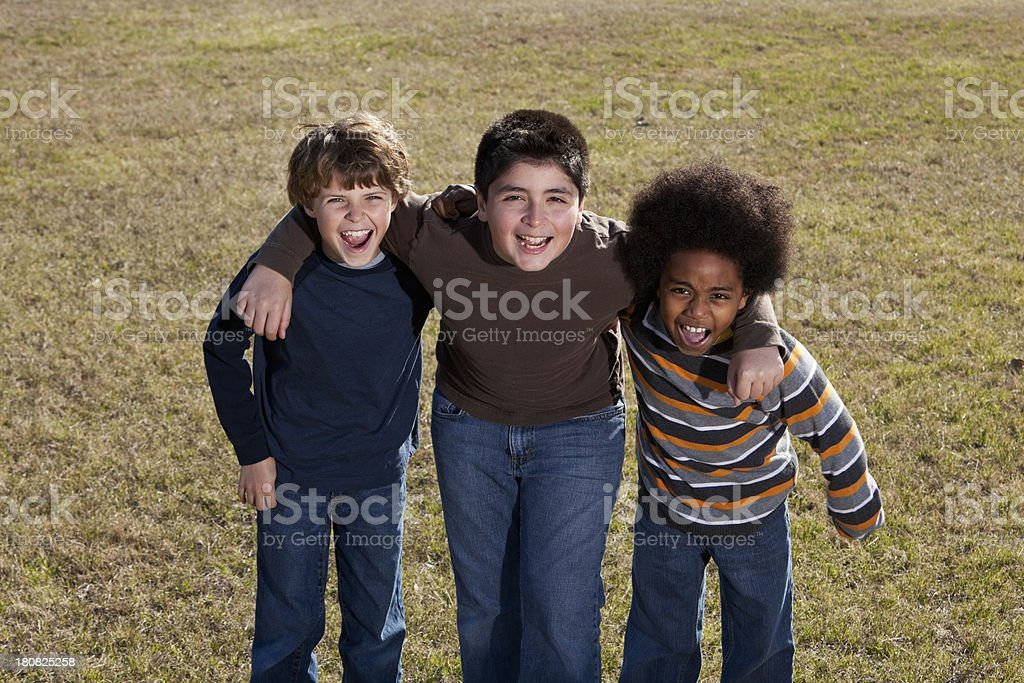 Boys laughing and shouting royalty-free stock photo