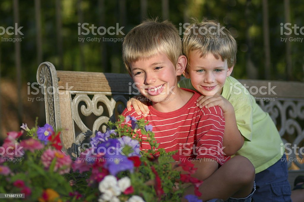 Boys on Bench stock photo