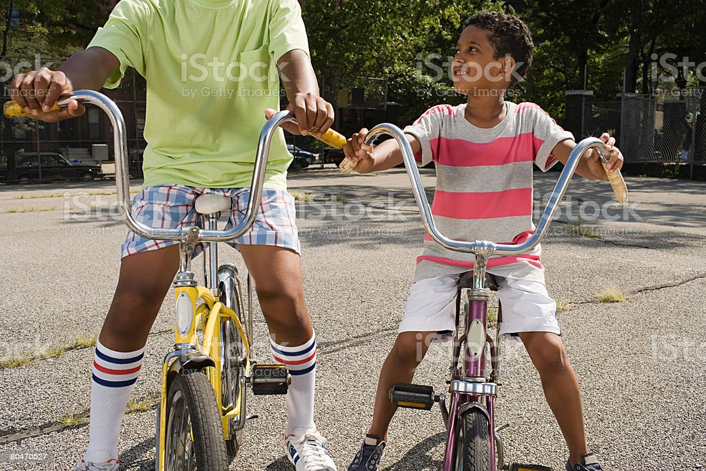 Boys on bicycles royalty-free stock photo