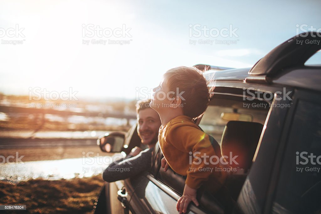Boys on the road stock photo