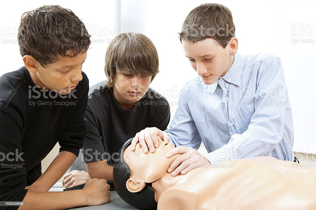 Boys Practicing CPR royalty-free stock photo