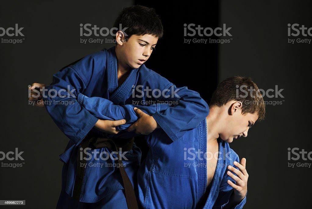 Boys practicing karate. royalty-free stock photo
