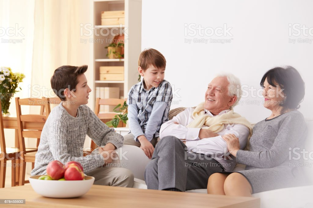 Boys talking with grandparents stock photo
