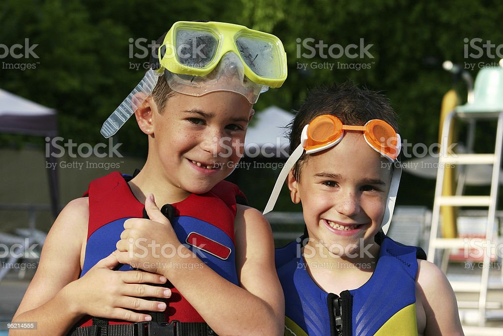 Boys With Life Jackets royalty-free stock photo