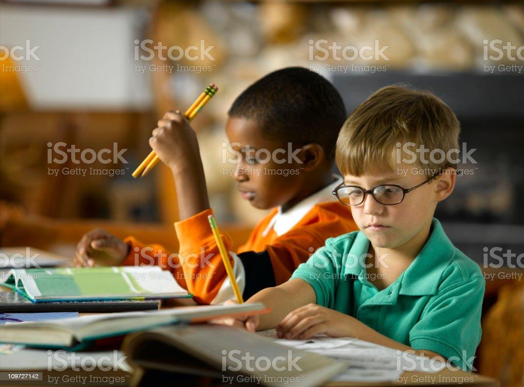 Boys Writing stock photo