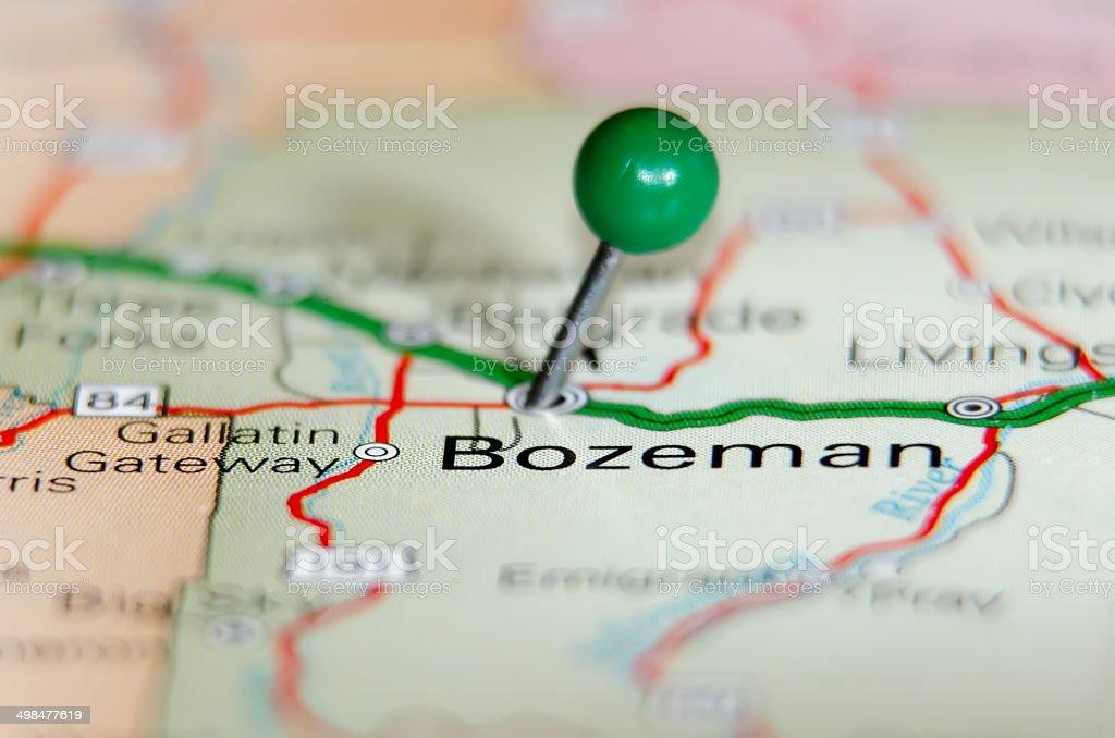 bozeman city pin on the map stock photo