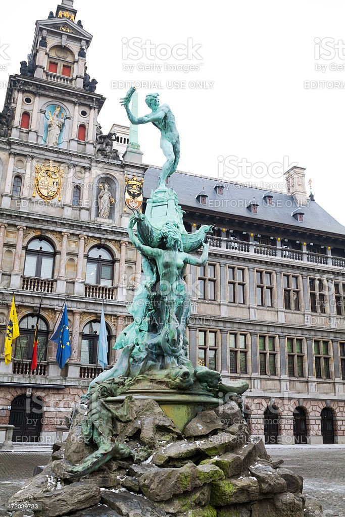 Brabo fountain and town hall of Antwerp stock photo
