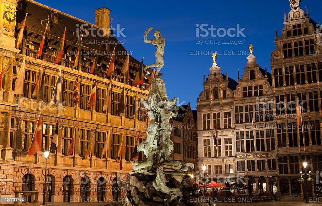 Brabo Fountain Antwerp stock photo