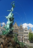 Brabo Fountain at Grote Markt in Antwerp.