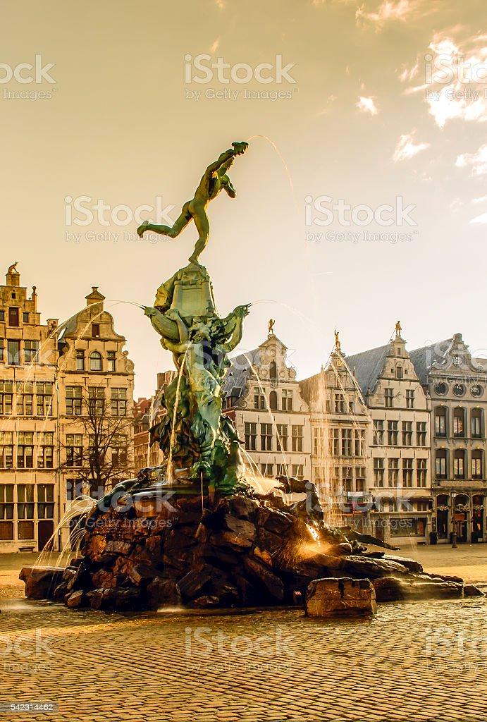 Brabo fountain of Antwerp, Belgium stock photo