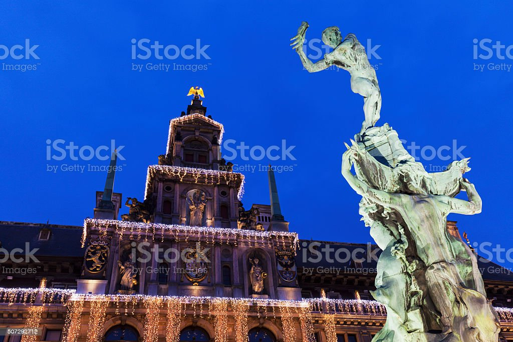 Brabo Fountain on Grote Markt in Antwerp stock photo