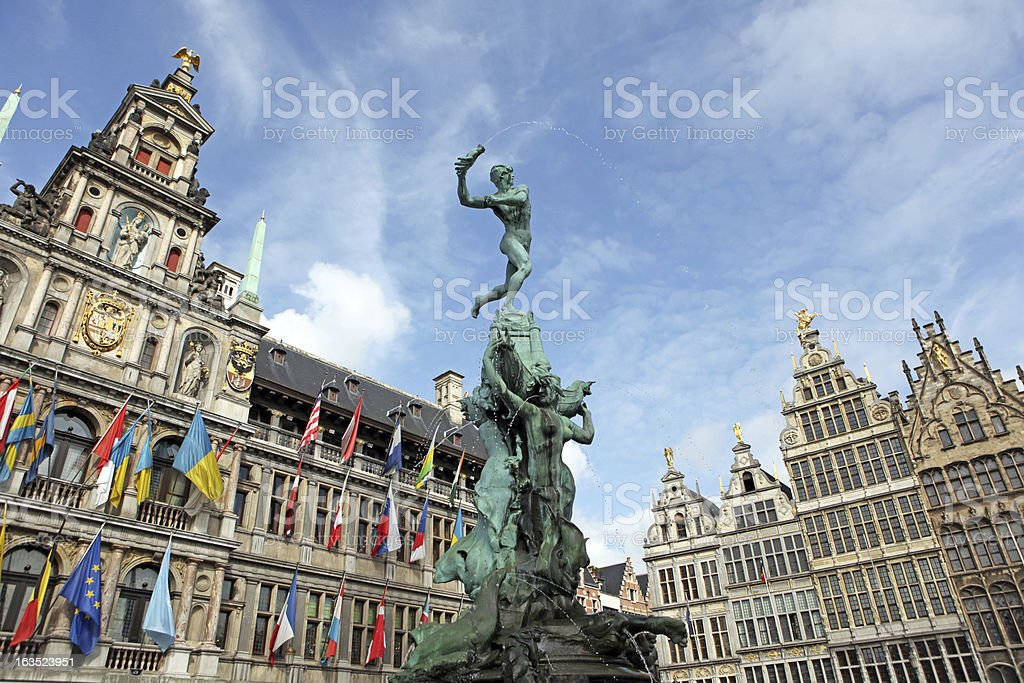 Brabo Statue and City Hall of Antwerp Belgium stock photo