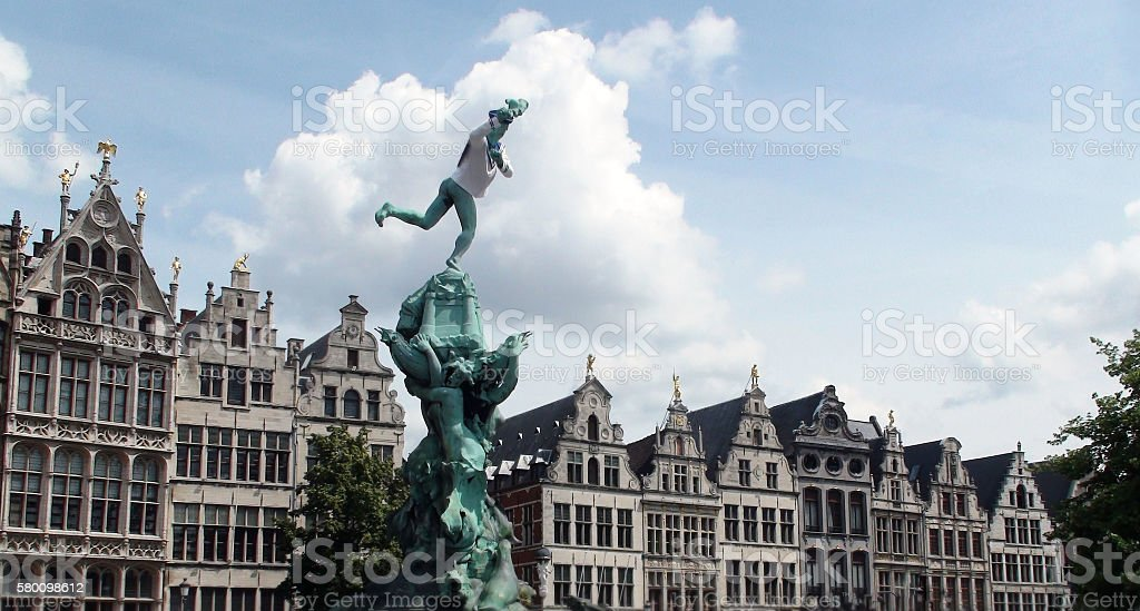 Brabo Statue At Antwerp Famous Old Town Hall Belgium Europe stock photo