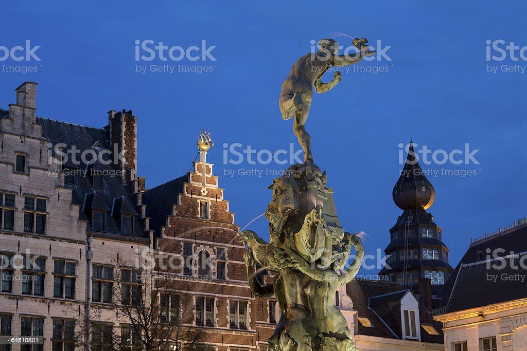 Brabo statue at Antwerpen Grotte Markt stock photo