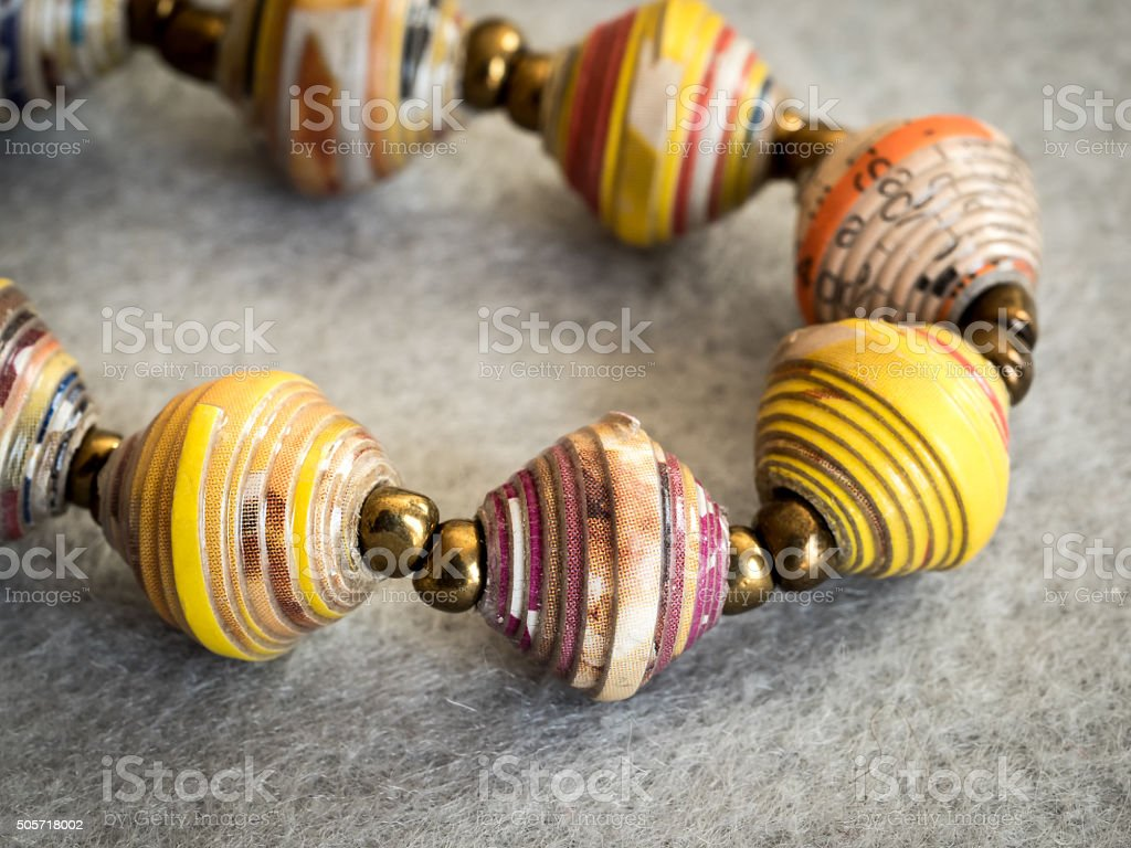 Bracelet of Colorful, Recycled Paper Beads stock photo