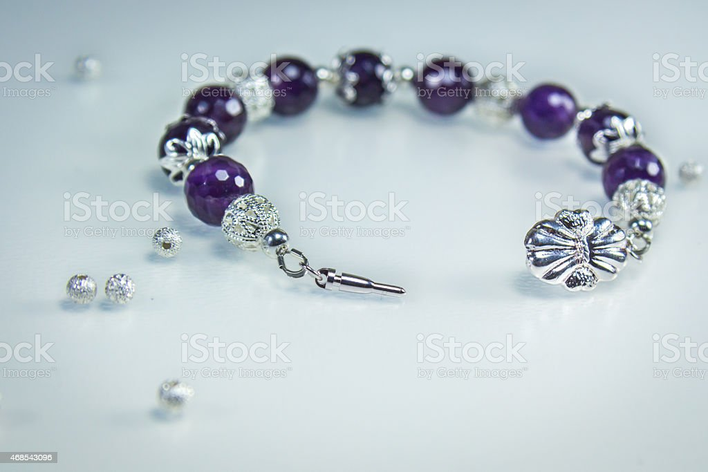 Bracelet with Amethyst stock photo