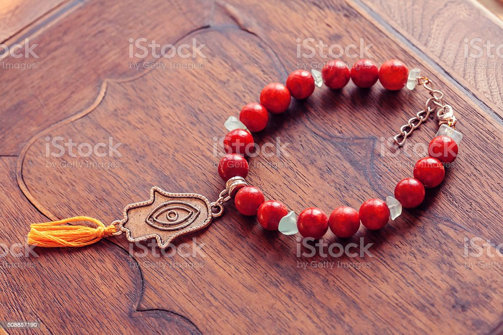 Bracelet with Fatima's hand pendant stock photo