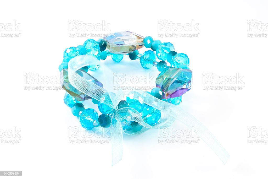 bracelet with sapphires isolated on white stock photo