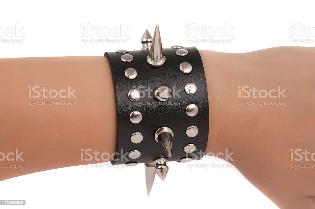 bracelet with spikes isolated stock photo
