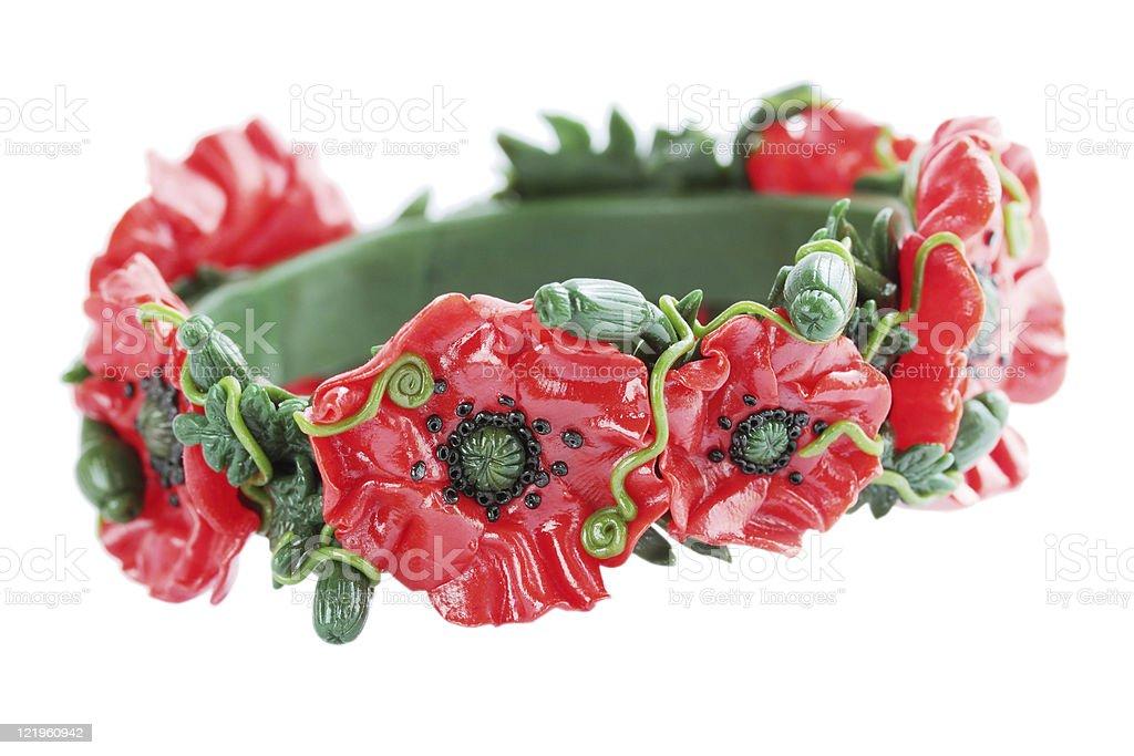 bracelet with the poppy stock photo