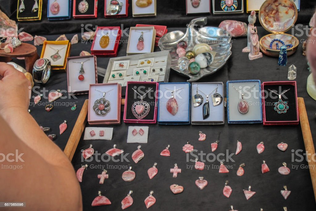 Bracelets Earrings Jewelery stock photo