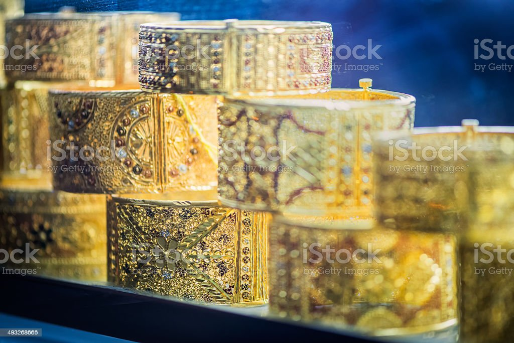Bracelets in Jewellery Store Window, Gold Souk, Deira, Dubai, UAE stock photo