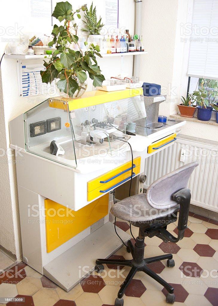 braces finetuning station at dentist stock photo