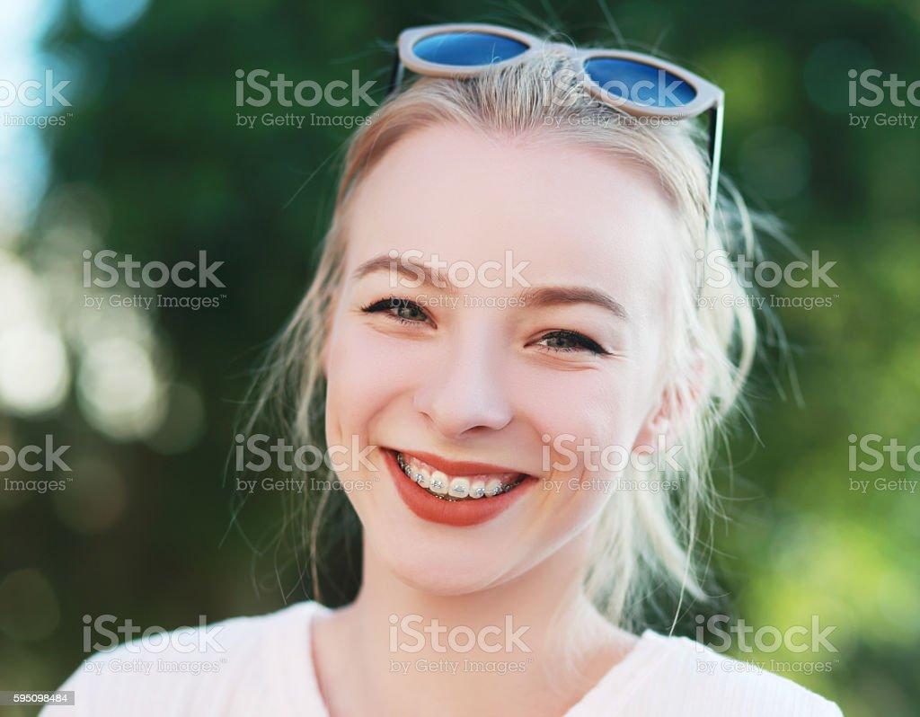 braces on her teeth stock photo