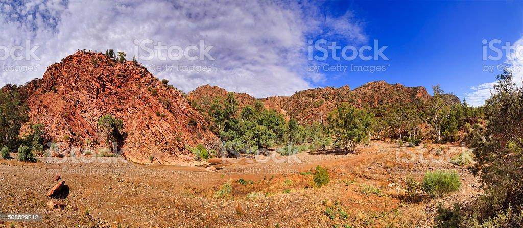 FR Brachina Gorge Bottom Panorama stock photo