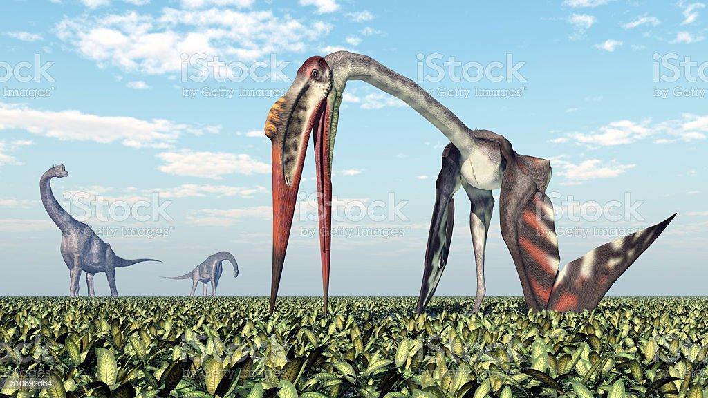 Brachiosaurus and Quetzalcoatlus stock photo