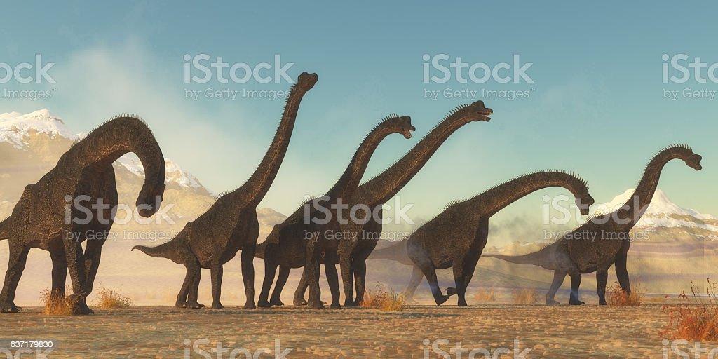 Brachiosaurus Dinosaur Herd stock photo