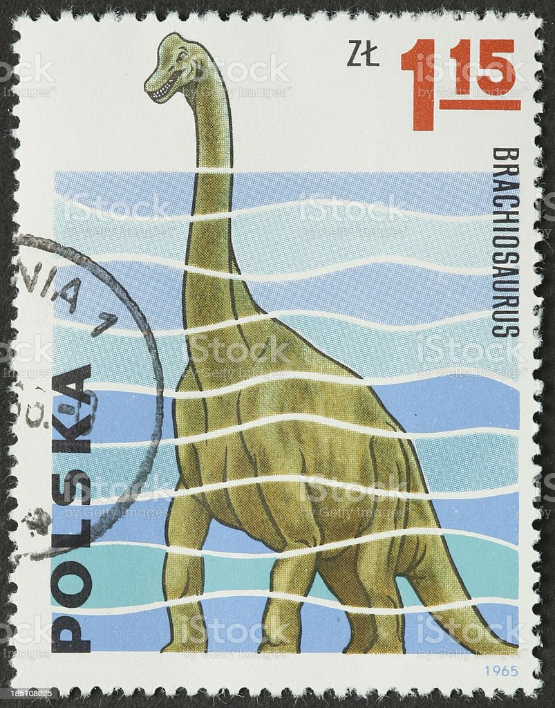 brachiosaurus dinosaur on a Polish stamp stock photo