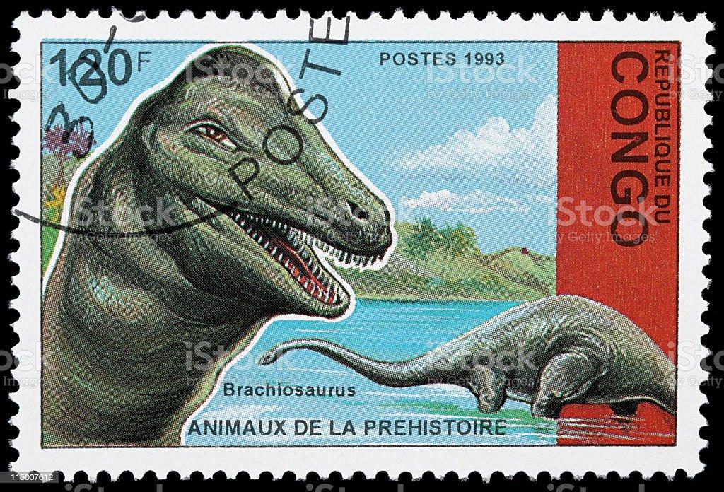 Brachiosaurus dinosaur stamp stock photo