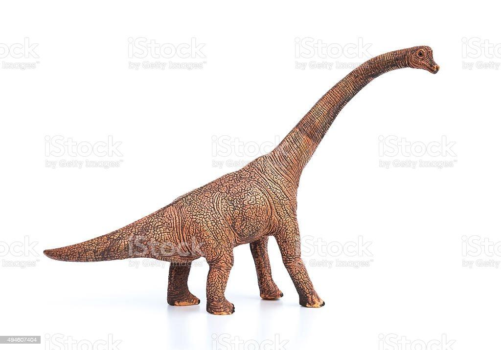 brachiosaurus toy on a white background stock photo