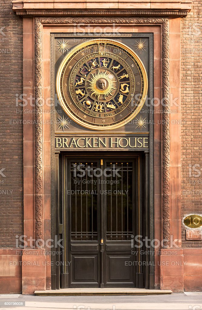 Bracken House astronomical year clock. London, UK royalty-free stock photo
