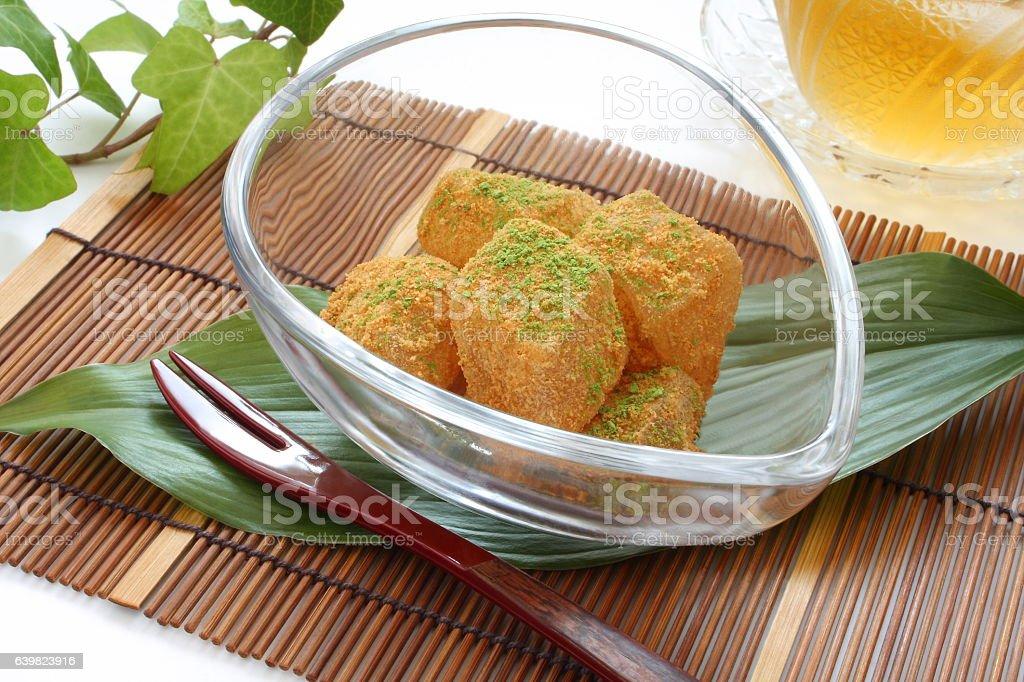 Bracken-starch Dumplings with Sweet Toasted Soybean Flour and Maccha Flour stock photo