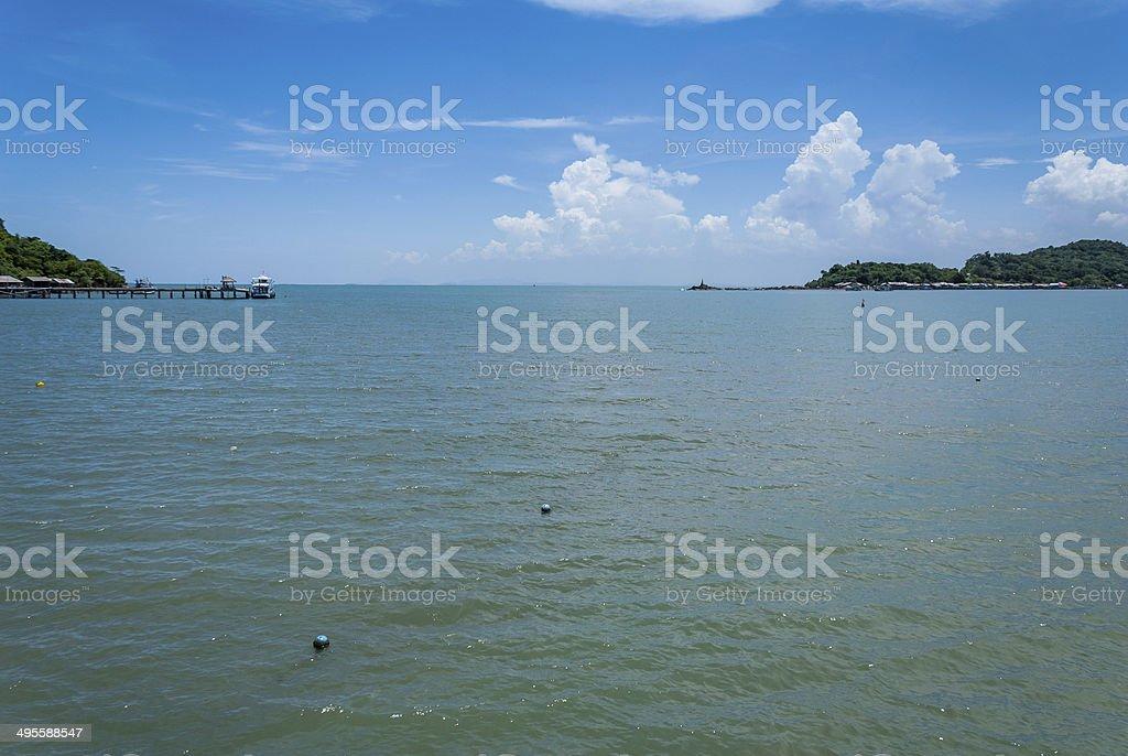 Brackish green water against blue sky stock photo