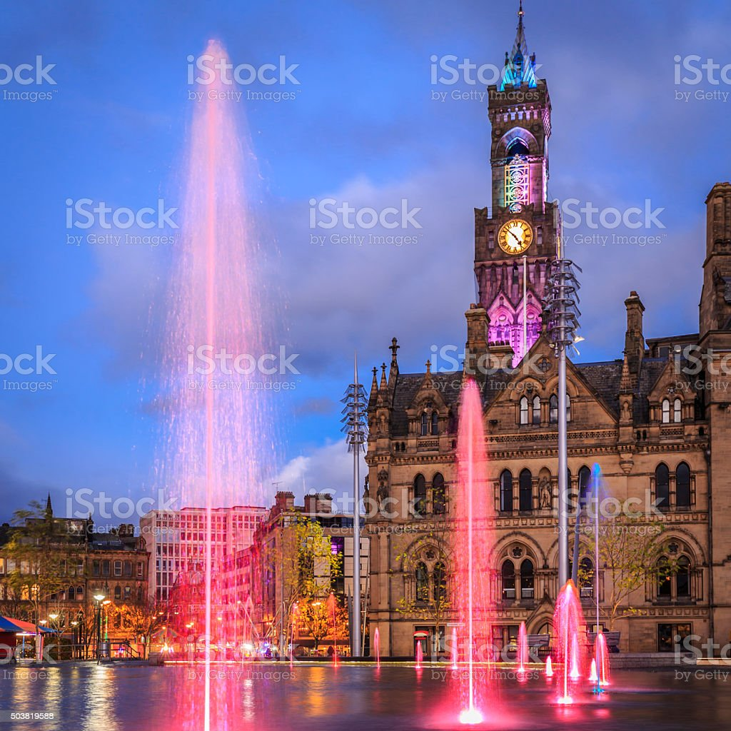 Bradford Town Hall at night stock photo