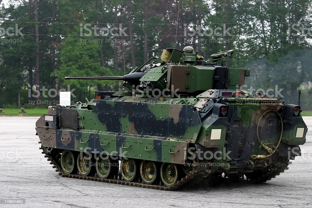 M2 Bradley Armored Fighting Vehicle on concrete yard stock photo
