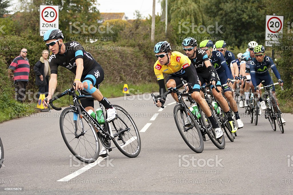Bradley Wiggins and other cyclists during Tour of Britain 2013 stock photo