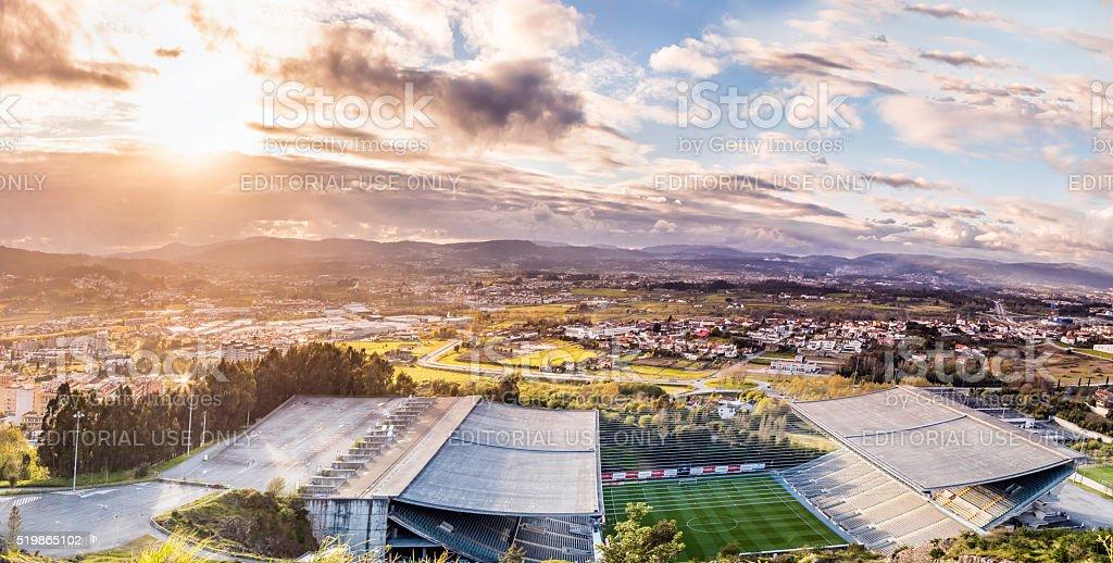 Braga Axa Stadium panorama from above stock photo
