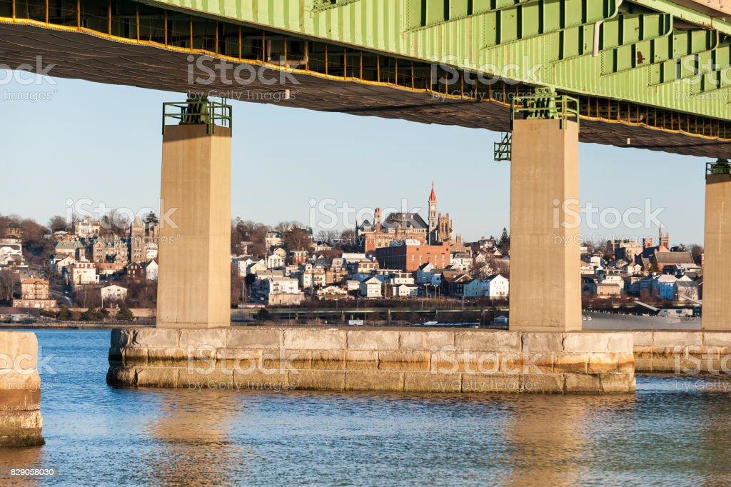 Braga Bridge Framing Fall River Skyline stock photo 829058030 | iStock