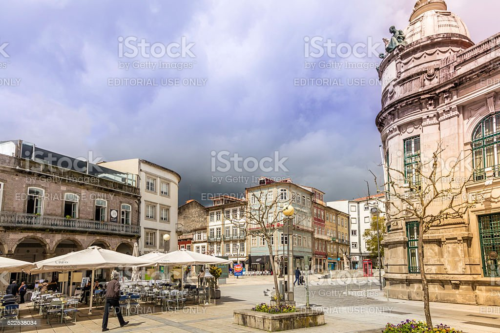 Braga city centre square with old buildings stock photo