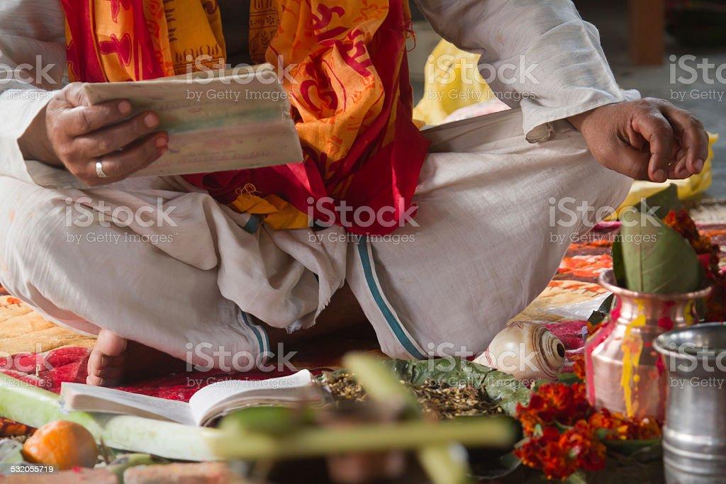 Brahman puja during hindu festival in Nepal stock photo