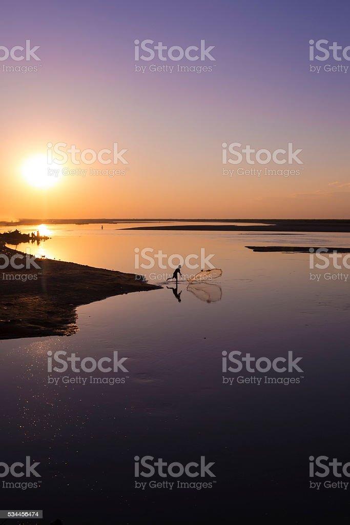 Brahmaputra River at sunset. stock photo